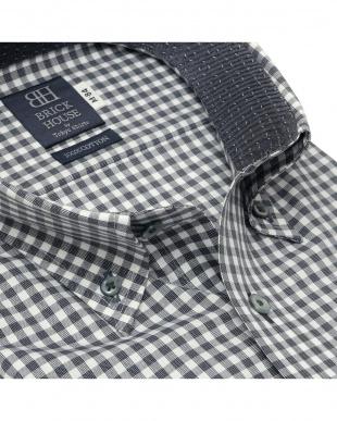 グレー 形態安定ノーアイロン ボタンダウン 長袖ビジネスワイシャツを見る