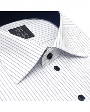 ブルー 形態安定ノーアイロン ラクリア ワイド 長袖ビジネスワイシャツを見る