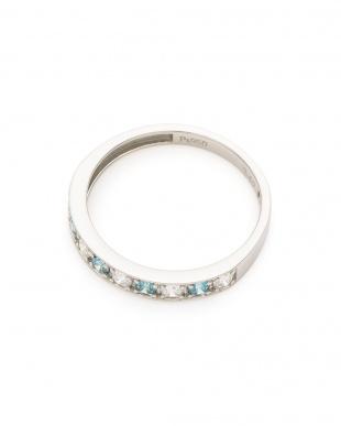 プラチナ Pt950 スカイブルー×ホワイトダイヤ 計0.4ct ハーフエタニティーリングを見る