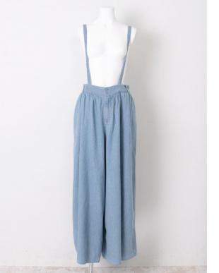 BLUE サスペンダー付ギャザースカートパンツを見る
