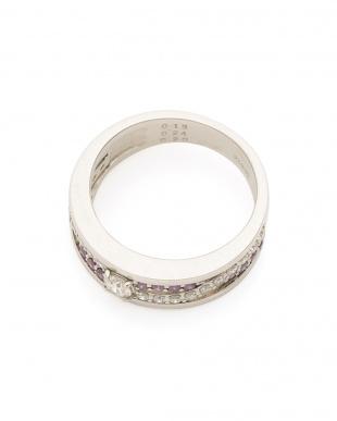 プラチナ Pt900 パープル×クリアダイヤモンド0.5ct デザインリングを見る