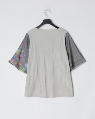 杢グレー きのこ深海柄 袖切替Tシャツを見る