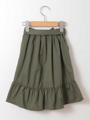 カーキ [100-130]サッシュリボン付フリルラップ風スカート[WEB限定サイズ] a.v.v bout de chouを見る