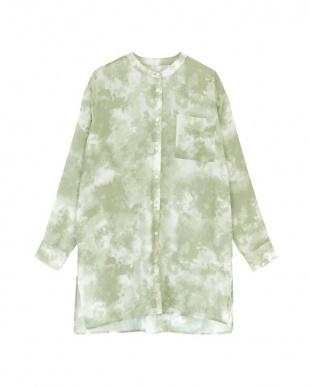 ライトグリーン タイダイ柄バンドカラーシアーシャツを見る