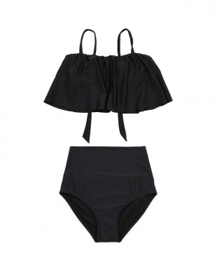 ブラック ワンピースライクセパレートビキニ/水着を見る