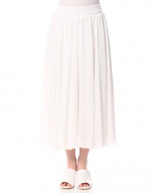ホワイト ウエストゴム ギャザーフレアースカートを見る
