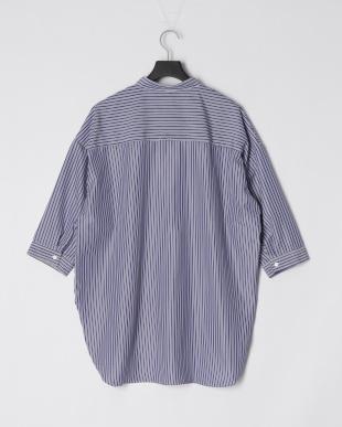 ネービー ストライプセミロングバンドカラー7ブソデシャツを見る