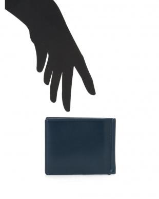 ブルー クリスペルカーフ レザー マネークリップ付カードケースを見る