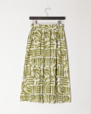 グリーン 幾何柄ギャザースカートを見る