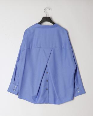 アクアブルー リネン調素材オーバーデザインシャツを見る