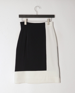 ダークネイビーXオフホワイ 配色ブロックデザインラップ風スカートを見る