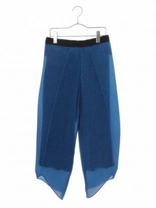 ブルー 【洗える】プリントチュールプリーツパンツ HIROKO KOSHINOを見る