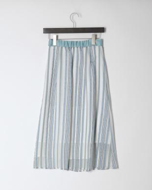 ブルー シアー ストライプ スカートを見る
