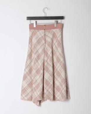 ピンク ビッグチェックツイードスカートを見る