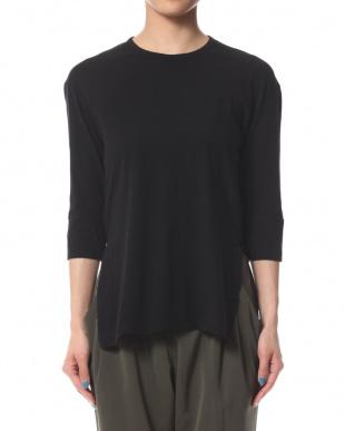 ブラック フレスカ天竺 ターンアップ七分袖Tシャツを見る