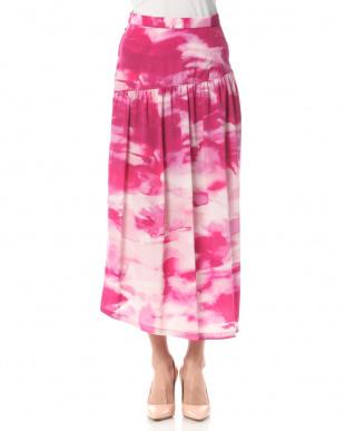 ピンク シルキー インクジェットプリントバッスルライン スカートを見る