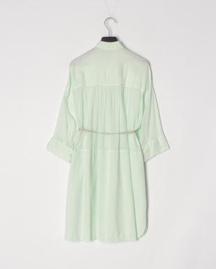 ライトグリーン シャツ衿チュニックワンピースを見る
