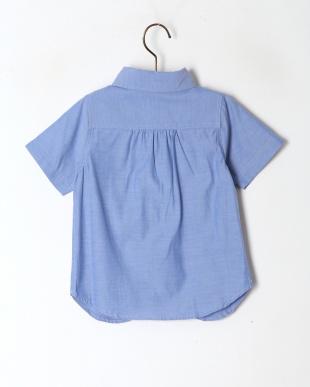 ブルー シャンブレーボタンダウン半袖シャツを見る