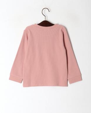ピンク ワッフル9分袖Tシャツを見る