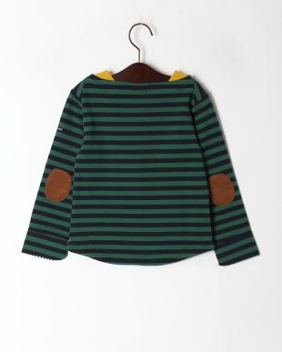 グリーン 2配色ボーダーボートネックTシャツを見る