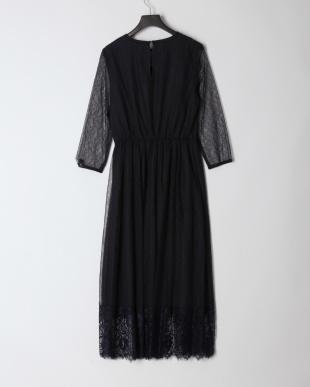 ネイビー シアーレースドレスを見る