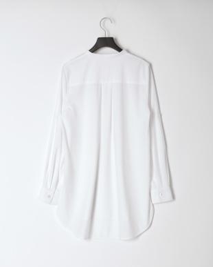 ホワイト [ストレッチ/シワになりにくい]ロールアップシャツチュニックを見る