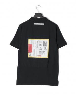ブラック CARDプリント半袖ポロシャツを見る