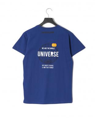ブルー UNIVERSEプリント半袖Tシャツを見る