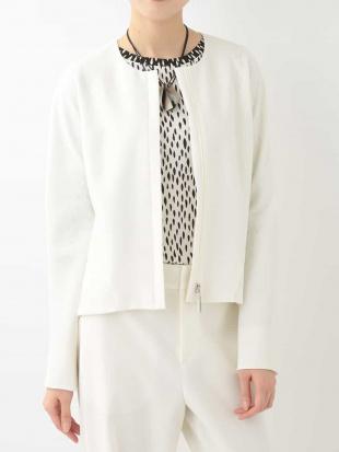 ホワイト 【日本製】ポリエステルジョーゼットボンディングジャケット HIROKO KOSHINOを見る