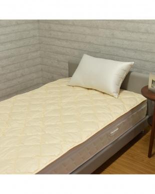 ベージュ 英国産ハンプシャー種 洗える羊毛ベッドパッド シングル ベージュを見る