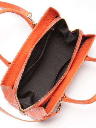 オレンジ クロコダイル&牛革バッグを見る