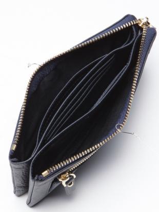 ネイビー レザー長財布を見る