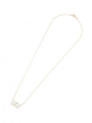 ホワイト K10YG パール2珠 プチネックレスを見る