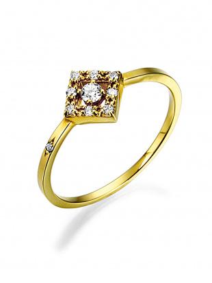 イエローゴールド K18YG ダイヤモンド スクエアモチーフ リングを見る