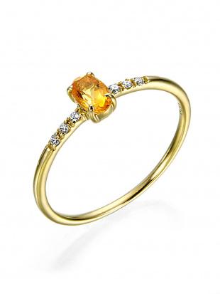 イエローゴールド K10YG シトリン ダイヤモンド リングを見る