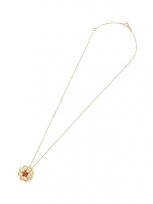 イエローゴールド K18YG ガーネット 淡水パール ダイヤモンド ネックレスを見る