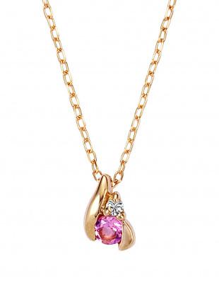 ピンクゴールド K18PG ピンクトルマリン ダイヤモンド ネックレスを見る