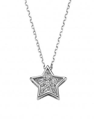 ホワイトゴールド K18WG ダイヤモンド スターモチーフ ネックレスを見る