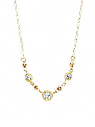 イエローゴールド K18YG ダイヤモンド デザインネックレスを見る