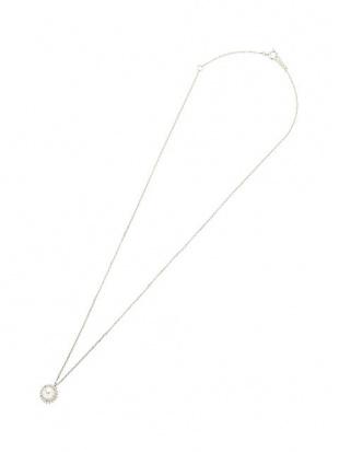 ホワイトゴールド K18WG アコヤパール×ダイヤモンド 0.09ct デザイン ネックレスを見る