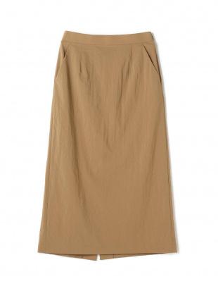 キャメル ナイロンストレッチIラインスカートを見る