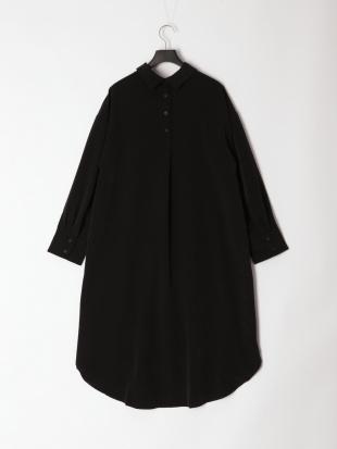 ブラック ロングシャツワンピースを見る