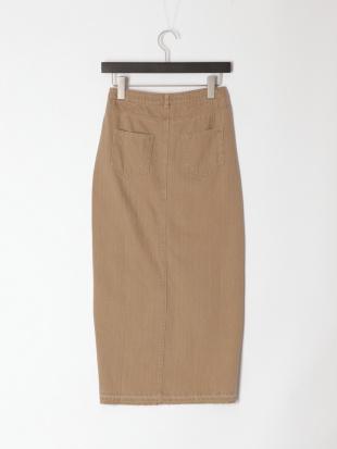ベージュ カラーデニムアシンメトリーロングタイトスカートを見る