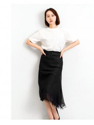 BLACK 共布ベルト付き アシメスカートを見る