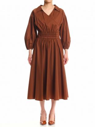ブラウン コットンクロスシャツドレスを見る