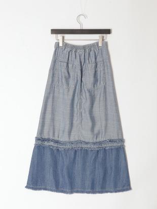 ブルー 配色 デニム スカートを見る