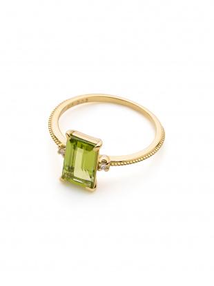 イエローゴールド K18YG ペリドット ダイヤモンド (0.03ct)リングを見る