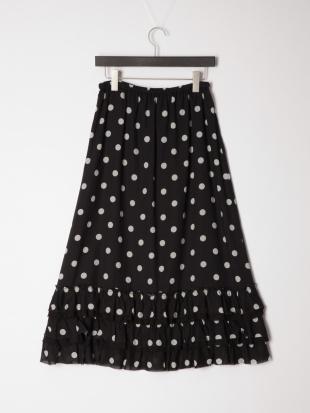 ブラック スモールドットプリントスカートを見る