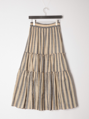 ベージュ カディストライプティアードスカートを見る