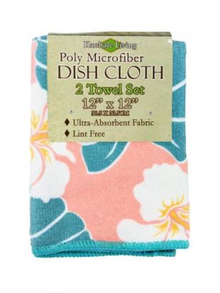 ディッシュクロス&キッチンタオル ハワイのお花柄 各2アイテム4点セットを見る